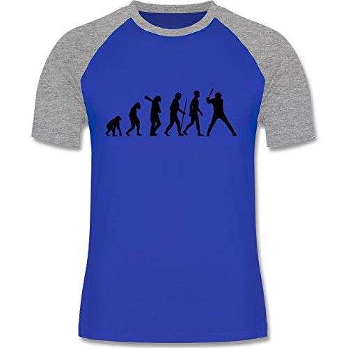 Evolution - Baseball Evolution - zweifarbiges Baseballshirt für Männer Royalblau/Grau meliert