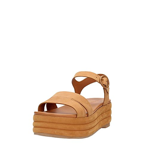 What For , Sandales pour femme Marron Cuir Cuir