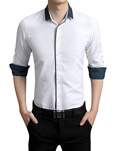 Hommes Manches Longues Veste Droite Contraste Couleur Détail Chemise Décontractée Blanc