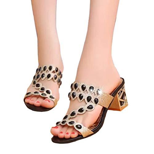 Bluelucon Damen Sandalen Sommer mit Keilabsatz Plateau Rutschfest Pantoffeln Schlappen Strand Schuhe