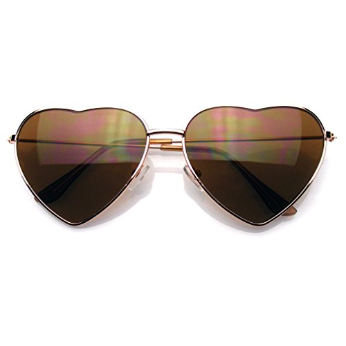 Premium Womens Niedlich Metallrahmen Herz Form Sonnenbrillen (Gold)