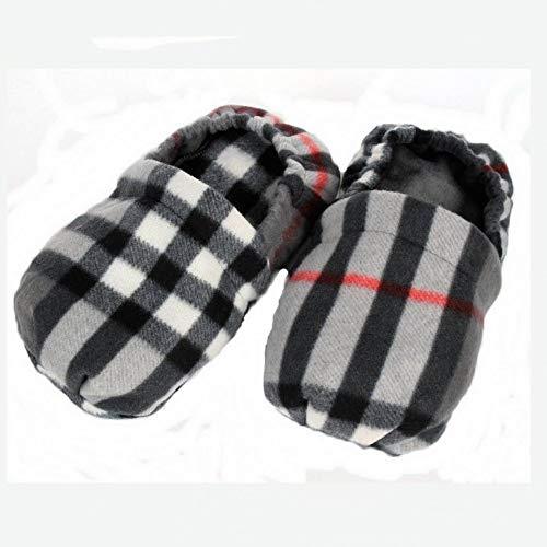 Erboristeria Vita wärmende Hausschuhe mit Kirschkernen für Fußmassage, Look: schottisch, grau, hergestellt in Italien