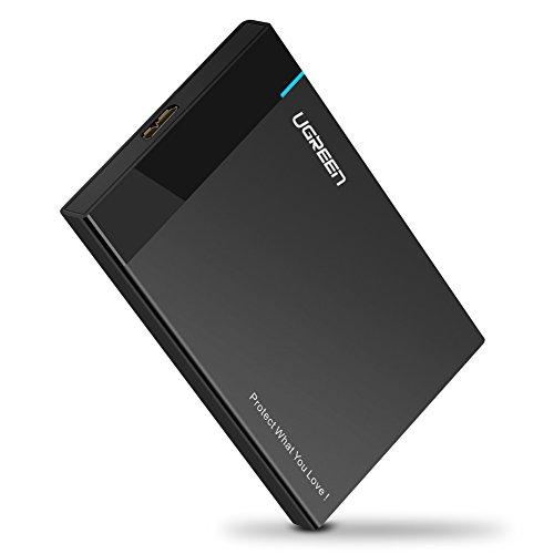 """UGREEN USB 3.0 Festplattengehäuse 2,5 Zoll USB 3.0 Externes Gehäuse UASP USB 3.0 Festplatte Gehäuse Case für 9.5mm 7mm 2.5"""" SATA SSD und HDD mit USB 3.0 Kabel (50CM), werkzuglos Schwarz"""