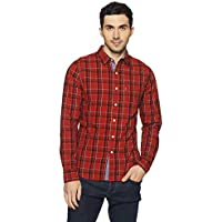 Levi's Men's Checkered Slim Fit Casual Shirt (32907-0021_Red_M)
