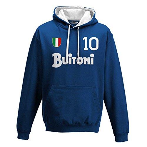 KiarenzaFD Sweatshirt Kapuze Bico Fußball Vintage Diego Armando Maradona Napoli 10Saison 87, KFB01849_L, Royal Blue-Arctic White, Large