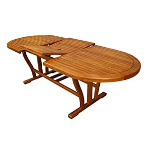 Tavolo in legno di acacia ovale allungabile arredo esterno for Arredo esterno in legno