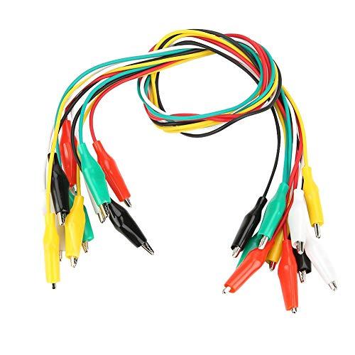 10 stücke 50 cm Farbige Krokodilklemme Nummer 35mm Doppelseitige Kabel für Multimeter Messleitung Silikonkabel