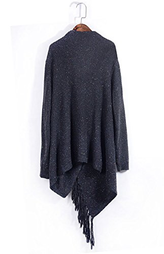 ASSKDAN Damen Winter Böhmen Quaste Capes Strickpullover Strickjacke Poncho Pullover Sweater Z-Dunkelgrau
