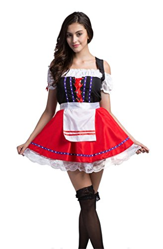 beautifulfashionlife Damen Maid Service Bier Kostüme Plus Größe Gr. Medium, Rot / (Größe Plus Kostüme Maid)