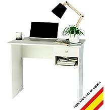 Samblo Hana Scrittoio per Ragazzi con Cassetto, Legno, Bianco, 74 x 90 x 50 cm