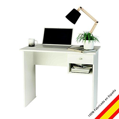Samblo Ecritorio con cajón (varios colores) mesa de estudio de 90 cm de ancho, Hana, melamina color blanco