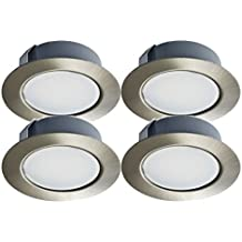 Trango TGG4E-04X Set da 4 faretti LED da incasso da 12 Volt AC/DC, sostituiscono i tradizionali faretti da incasso G4 per mobili, cappe da cucine ecc... Effetto acciaio