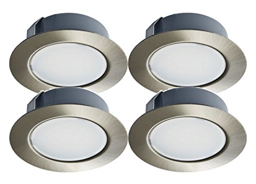 Trango 4er Set LED Möbeleinbauleuchten in Nickel matt (Edelstahl-Look) 12 Volt AC/DC TGG4E-012 (Nickel Set)