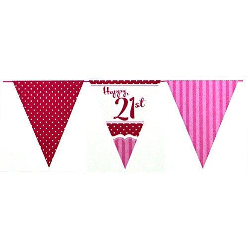 Unbekannt Creative Party Perfectly Pink Happy 21st Birthday Girlande (Einheitsgröße) (Pink/Rot/Weiß)