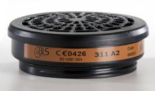 BLS Coppia Filtri di ricambio BLS art.311 classe A2 per gas e vapori organici - serie 300 adatti per maschere BLS art. TP2100 e BLS art. 5250