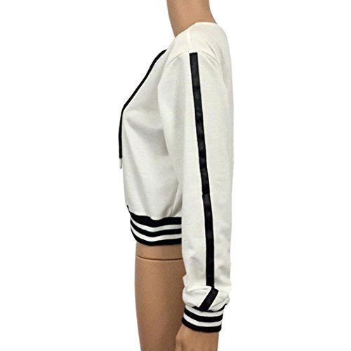 Camicia a maniche lunghe, Longra Donna Camicia a maniche lunghe a righe a righe in cotone a V-collo Bianco