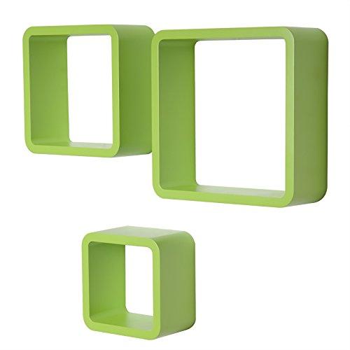 WOLTU RG9282gn Wandregal Cube Würfel CD DVD Regal Dekoregal kleines Holzregal, 3er Set Retro Hängeregal, grün