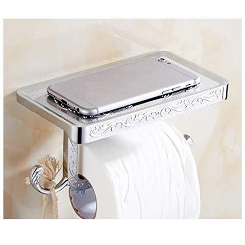 CXD Antike Öl eingerieben Bronze Toilettenpapierrollenhalter, Bad-Accessoires Toilettenpapier Aufhänger mit Haken, an der Wand montiert (Farbe : Silber) - Eingerieben öl Haken Kleine