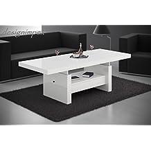 Elegant Design Couchtisch H Wei Hochglanz Schublade Ausziehbar Tisch With Couchtisch  Ausziehbar