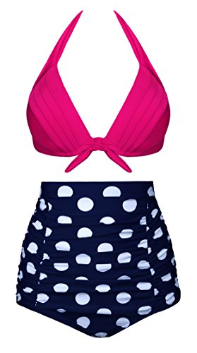 Angerella Vintage High Taille Bikinis Badeanzug Polka Dot Zwei St¨¹ck Badeanzug (Polka Blau Dot Bikini-badeanzug)