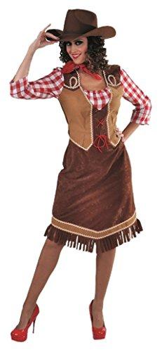 Kostüm Western Damen Country - M215110-XL braun-rot Damen Cowgirl Saloongirl Westernkleid Gr.XL