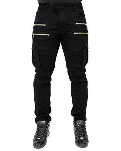 6c696f400b4716 Quge Jeans Pantaloni Uomo Stile Biker Cargo Pantalone Militari con Multi  Tasche Nero M