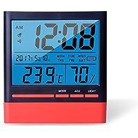 Anseny Termómetro digital LCD con luz de fondo, temperatura (C/F -50C a 70C), humedad 10% a 99%, reloj 12/24 h, calendario, alarma, batería incluida