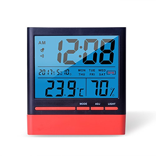 Anseny Digital LCD Thermometer/Hygrometer mit Hintergrundbeleuchtung, Temperatur (C/F-50C bis 70C), Luftfeuchtigkeit 10{19da5f33f5f04d21d7f5c5c62800dd347377d90690aa537b16aba0b0f9b86985} Bis 99{19da5f33f5f04d21d7f5c5c62800dd347377d90690aa537b16aba0b0f9b86985}, 12/24h Uhr, Kalender, Wecker, Batterie im Lieferumfang enthalten