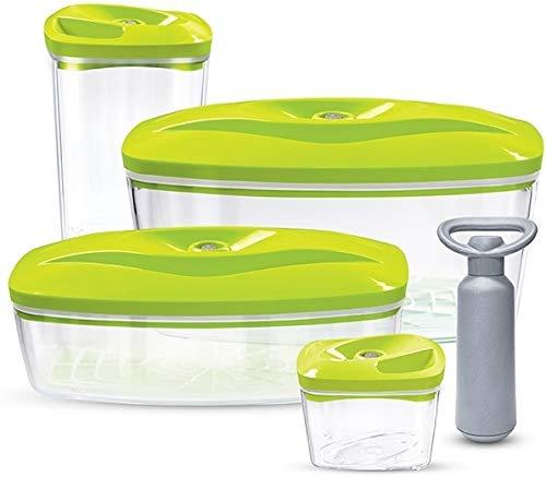Set 4 dafi contenitori sottovuoto per alimenti con pompa | 0.5l, 1.3l, 1.5l, 2.7l | colore: verde