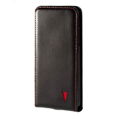 TORRO Hülle kompatibel mit iPhone XS. Echtleder Flip Case aus schwarzem italienischem Leder für Apple iPhone X/XS - Schwarz