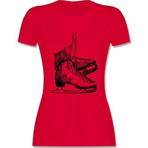 Wintersport - Schlittschuhfahren - tailliertes Premium T-Shirt mit Rundhalsausschnitt für Damen Rot