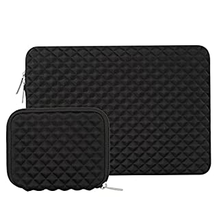MOSISO Laptop Sleeve, Diamond Foam Water Repellent and Shock Resistant Lycra Bag for 13-13.3 Inch MacBook Pro/Air,Notebook with a Small Case, Black