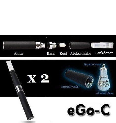 eGo-C Starterset! 2 vollständige E Zigaretten mit großem 900mAh Akku und wechselbaren Verdampferköpfen zum besten Preis! Farbe - Mattschwarz (Zigarette Steigen)