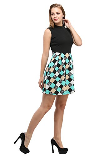 Toshee-Present-Womens-Black-Color-Geomatric-Printed-Knee-Length-Dress-Made-in-CrepeTOS1059
