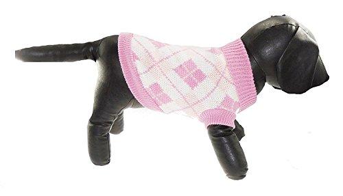Knit Tee (Liebenswürdig, Tee Tasse Spielzeug Hunde wollig Knit Scottish Pink Argyle Rolle Hals Jumper, in 5Größen erhältlich)