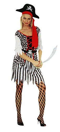 COM-FOUR® Sexy Piratin Kostüm Set für Fasching, Karneval, Halloween + Gratis: Bandana, Augenklappe, Ohring (Größe M) (Minnie Mouse Verkleiden Kostüme)