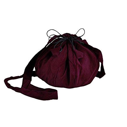 Schnürbare Mittelalter Tasche, bordeaux, mit langem Schulterband, ideal für Kostüm oder Party zum Verstauen von Utensilien