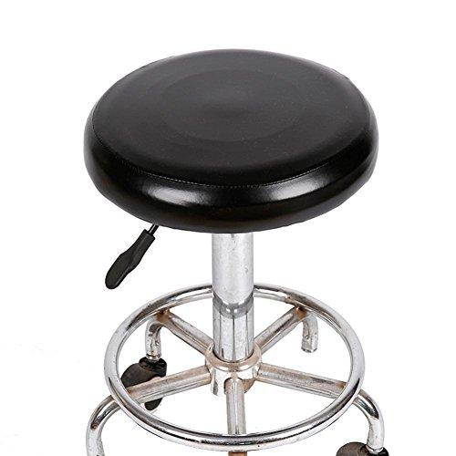 Yunhigh PU Leder Wasserdichte Barhocker Abdeckung Runde Stuhl Sitzbezug Schutzhülle Schutzhülle Elastische Abnehmbare, Schwarz - Leder Stuhl-abdeckung