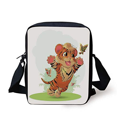 Green Tiger-print (Cartoon Decor,Little Cub Playing with Butterflies in The Meadow Joyful Lively Baby Tiger Cat,Orange Cream Green Print Kids Crossbody Messenger Bag Purse)