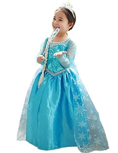 Ninimour Mächen Eiskönigin Eiskönigin Prinzessin Cosplay Fasching Kostüm Tutu Kleid 3-8 Jahre Alt (120, Z-Blau) (Cinderella Kostüm Tutu)