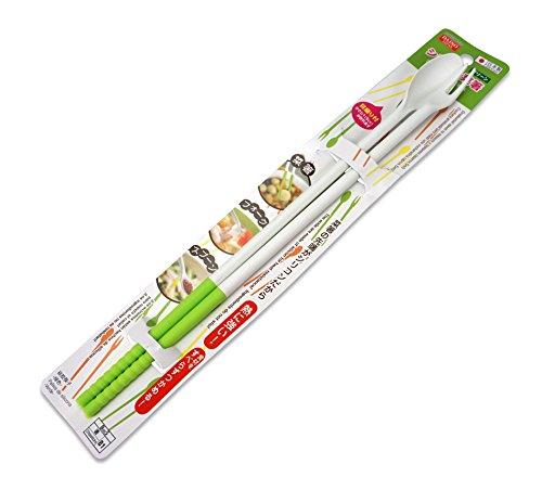 Japanische wendbar Kochen Stäbchen–Extra Lang, Silikon Tipps, Wahl der Farben, Silikon, weiß / grün, approx 30cm long.