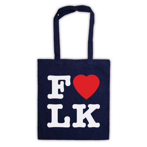 """Scritta in inglese """"I Love-Borsa stile Folk Blu navy"""