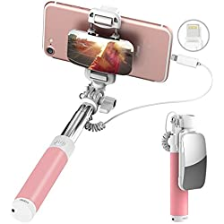 ROCK iPhone 7 Bastone Selfie,Mini Selfie Stick con iPhone Lightning Controllo di Legare e Grande Specchio[139mm a 600mm]per iPhone 7/7 Plus e altro iPhone con Connettore Fulmini - Rosa