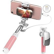 """ROCK iPhone 7 Palos Selfie,Mini Selfie Stick con Gran Espejo[iPhone Lightning Conector][139mm a 600mm][Pantalla de 6""""o más pequeña]para iPhone 7/7 Plus y otra iPhone con Conector Relámpago - Rosado"""
