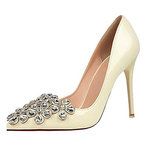 OALEEN Escarpins Vernis Elégant Bout Pointu Strass Fleur Chaussures Talon Haut Aiguille Mariage Femme Blanc ivoire 38