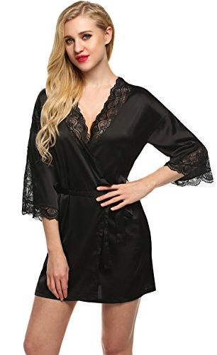 Ekouaer Damen Morgenmantel Kimono Robe Bademantel Nachtwäsche Kurz Satin-look Negligee Nachthemd Pyjamas (Robe Rot Flanell)