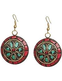 Kaizer Jewelry Handmade Lightweight Tibetan Hook Dangler Earrings for Women and Girls (Black Gold)