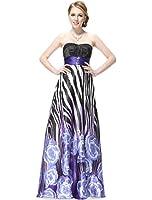 Ever Pretty Animal Printed Strapless Rhinestones Satin Ruffles Prom Party Evening Dress 09622