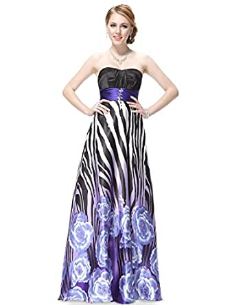 HE09199PP06,Purple,6,UK,Ever Pretty Strapless Printed Evening Party Dress 09199