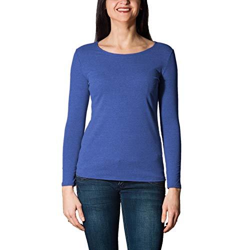 Alkato Damen Langarm Shirt mit O-Ausschnitt, Farbe: Blau Meliert, Größe: XXL